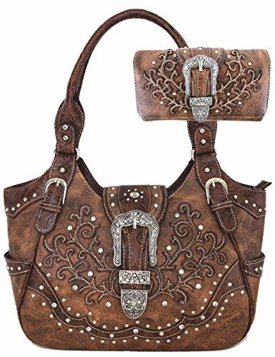 Western Style Leather Shoulder Bag (Western Style Concealed Carry Belts Buckle Country Purse Handbags Messenger Shoulder Bag Wallet Set Brown)