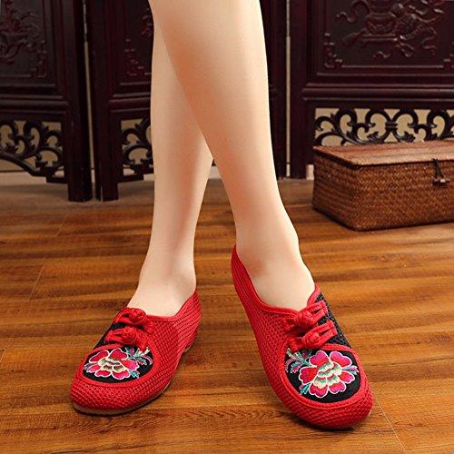 Avacostume Vrouwen Borduren Mesh Chinese Kikker Loafer Schoenen Rood