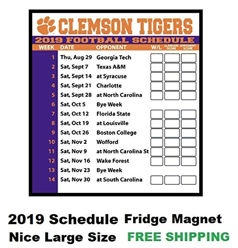 graphic relating to Tigers Printable Schedule identify : 2019 NCAA Clemson Tigers Soccer Agenda