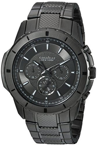 Caravelle New York Men's Analog-Quartz Watch with Stainless-Steel Strap, Black, 24 (Model: 45A139)