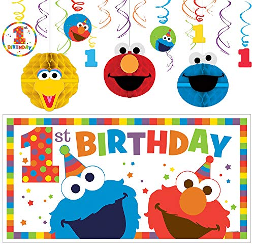 Party City Sesame Street 1st Birthday Elmo Decorating Supplies, Include 12 Swirl Decorations, Honeycombs, and a Banner ()