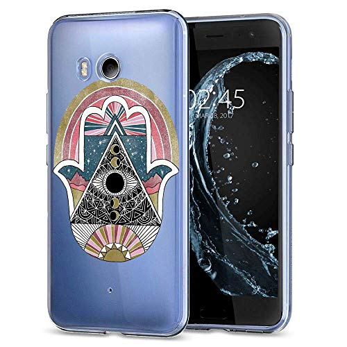 Pink Hamas Hand HTC U11 Clear Case,Ultra-Thin Transparent Soft Protection Cover,Personal Customization Hybrid Drop Flexible Shockproof Case