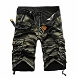 PASATO Clearance!Fashion Mens Casual Pocket Beach Work Casual Short Trouser Shorts, Crease Printing Pants(Yellow, 31)
