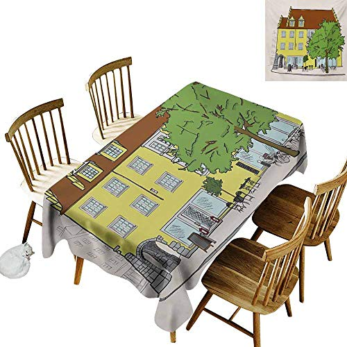 Mannwarehouse German Wrinkle Resistant Tablecloth Sketch of Old Building in Lindau Germany Colorful Illustration Bavarian Architecture Excellent Durability W54 x L90 Multicolor
