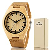 Creative Mens Wooden Watch with Leather Band Bamboo Wood Quartz Wristwatch for Gift
