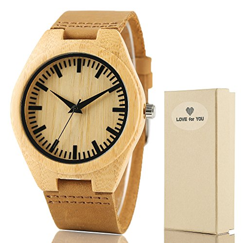Creative Mens Wooden Watch with Leather Band Bamboo Wood Quartz Wristwatch for Gift by Jewelry Image