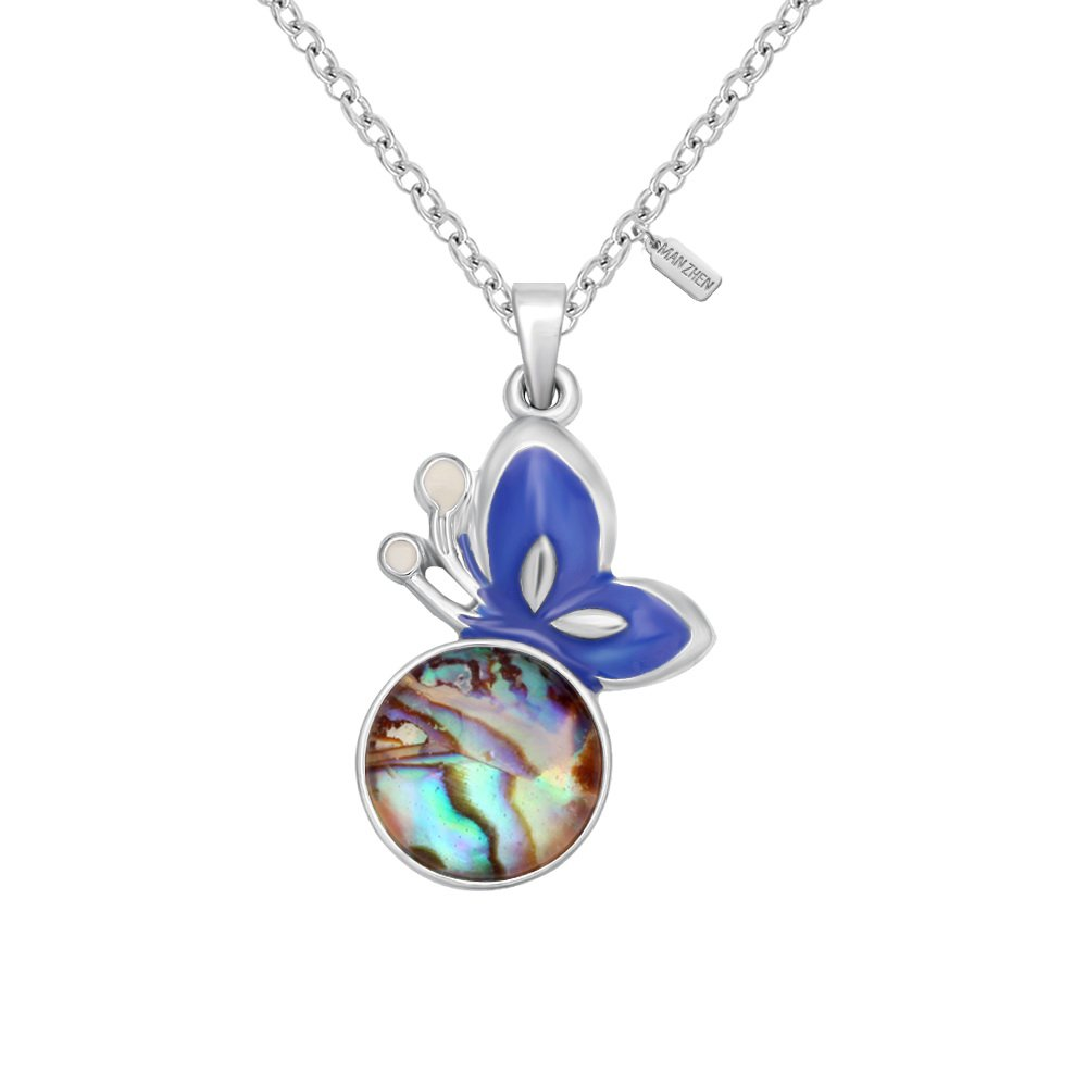 MANZHEN Silver Transparent Abalone Shell Enamel Flying Butterfly Charm Pendant Necklace Women Jewelry