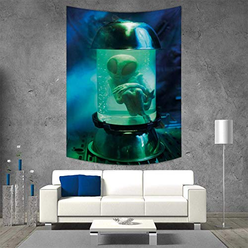 smallbeefly Outer Space Customed Widened Tapestry Martian UFO Alien in a Aquarium Like Tube Artwork Image Wall Hanging Tapestry 60W x 80L INCH Blue Sky Blue Pale Green ()