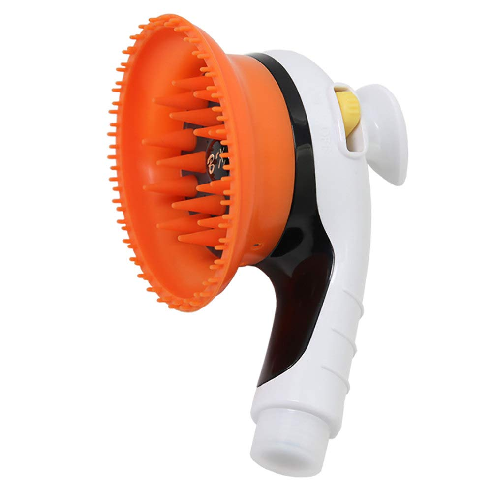 ZNZN Dog Shower Sprayer, Silicone Rubber Brush Pet Brush Shower Hand-Held Bathing Tool Indoor and Outdoor Garden Usefor Dog Cat, Orange