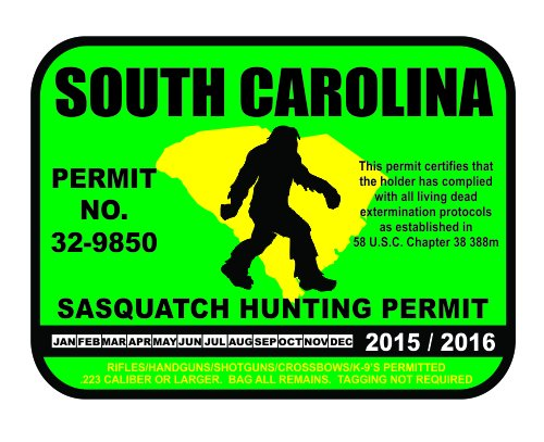 South Carolina Sasquatch Hunting Permit License Bigfoot Vinyl Sticker Decal