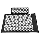 Baoblaze Acupressure Mat And Pillow Set Back Neck Relax Muscle Relaxation 68*41cm / 26.8*16inch - Black, as described