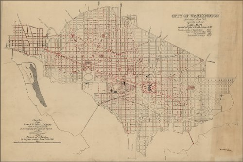 20X30 Poster  Map Of Gas Lamps In Washington D C  1880