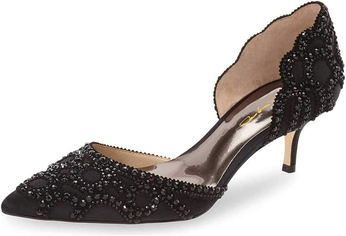 Amazon Com Xyd Women D Orsay Wedding Pumps Pointed Toe Low Kitten Heels Slip On Rhinestones Bridal Shoes Pumps