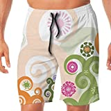 Haixia Men Adjustable Boardshorts Abstract Retro Inspired Floral Arrangement Wi