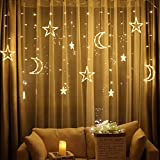 2.5m Star Curtain Light Moon Lighting String For Indoor Outdoor Decoration - EU Plug