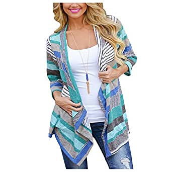 Aifer Women Sweater Long Sleeve Irregular Stripe Shawl Cardigan Tops Cover Up Blouse