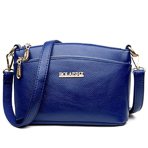 Wlfhm Double Zipper Female Bag Classic Shoulder Bag Lady Shoulder Bag Blue