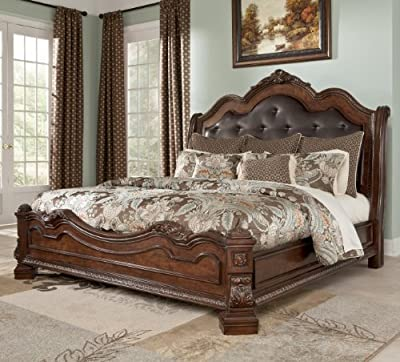 Ashley Ledelle King Sleigh Headboard Bed with Upholstered Faux Leather in Brown