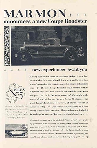 1927 Marmon 75 Convertible Ad Florida Coast Gulf Stream