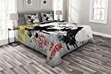 Lunarable Graffiti Bedspread Set Queen Size, Modern and Grunge Wall with a Girl and Quotes Casual Youth Urban Fashion Print, Decorative Quilted 3 Piece Coverlet Set with 2 Pillow Shams, Grey Yellow