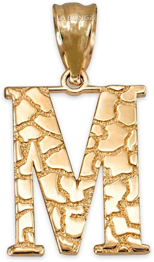 LA BLINGZ 14K Rose Gold Nugget Initial Letter D Necklace