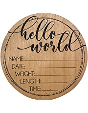 Newborn Announcement Sign, Hello World Baby Sign Personalized Wood Birth Announcement Card Round for Newborn Photo Props, Wooden Plaque for Baby Name and Birth Details, Newborn Gift