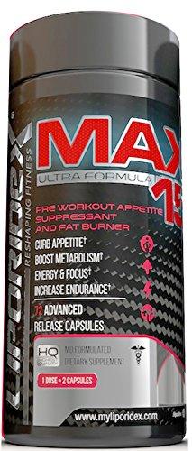 Liporidex MAX15 w / café vert - Ultra formule thermogénique poids perte supplément Fat Burner métabolisme Booster & coupe-faim - la manière facile de perdre du poids rapidement ! -pilules pour maigrir 72 - 1 boîte