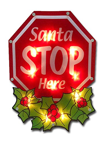 (Christmas Window Decoration - Santa Stop Here Christmas Sign With 20 Lights UL Approved)