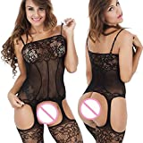 WOOPOWER Lingerie Bodystockings,Women Stretch Fishnet Sexy Lace Crotchless Underwear Bodysuit Black Onesize