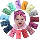 ALinmo 15Pieces Nylon Newborn Headband Big Hair Bow Girl's Headbands for Newborns Toddler Infants Kids and Children: more info