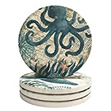Ceramic Coaster Set of 4 Absorbent Stone Coasters for Cold Drinks Coffee Mug Glass Cup Place Mats (Ocean Life)