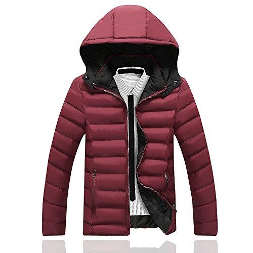 Hgfjn männer - Mode - Mantel wintermantel schlanke männer warm Fashion größe männer lässige Kleidung,Rot - rot,2XL