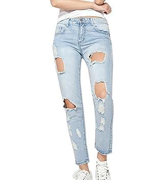 Pantalones Mujer Jeans Cintura Alta Delgado Fit Flaco ...