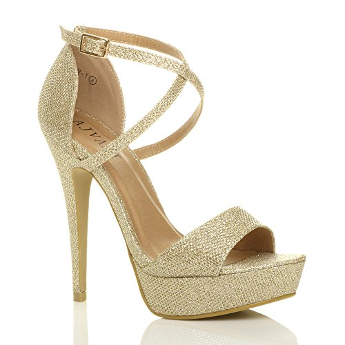 Peeptoe Zapatos Sandalias Tacón Over Dorado Plataforma Cross Strappy Shoes Tilly Talla tqT8OO