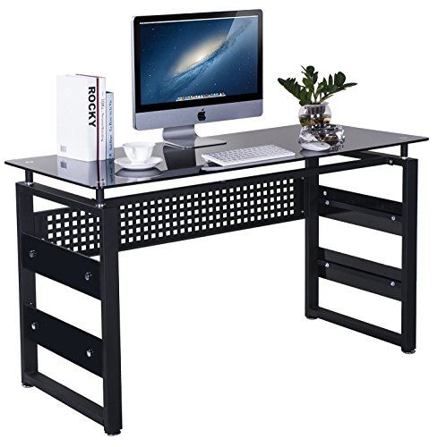 Merax Computer Table with Glass Top and Metal Legs - Glass Metal Desk