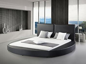 Toll Designer Rundbett ECHTLEDER Bett / Rundes Lederbett U0026quot;Lunau0026quot;  Schwarz Oder Weiss Polsterbett Leder