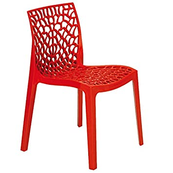 red polypropylene chair reinforced plastic chair for inside and