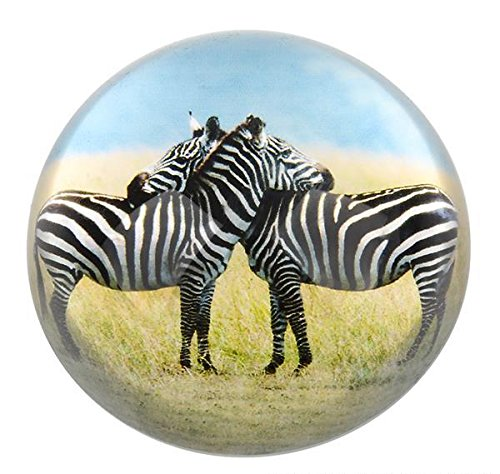 80 MM DOME PAPERWEIGHT 2 ZEBRAS, Case of 72
