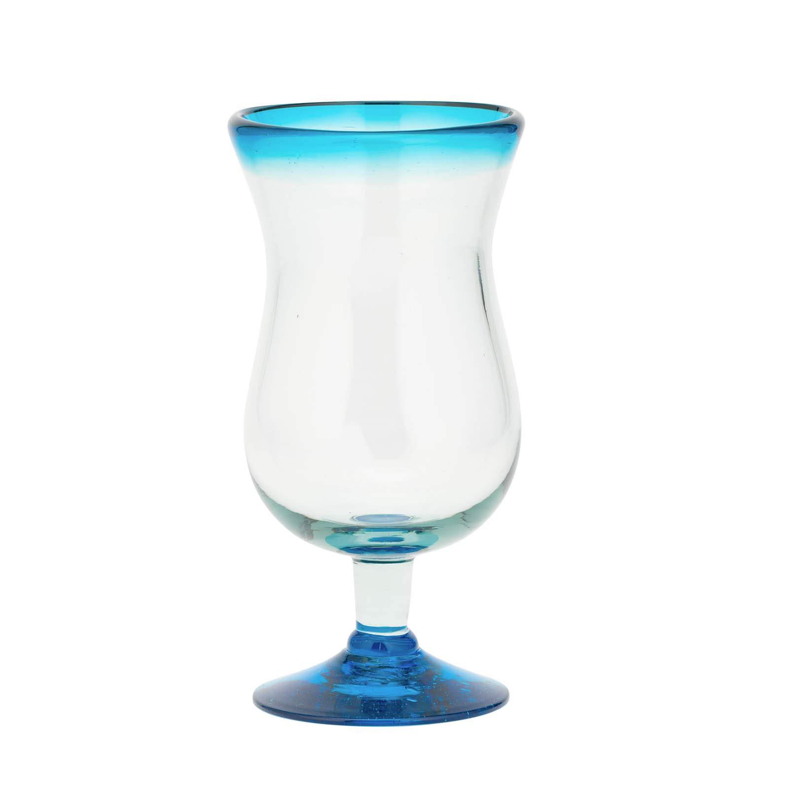 Amici Home 7MCR379S4R Baja Hurricane Drinking Glass 16 Fluid Ounces Aqua Rim