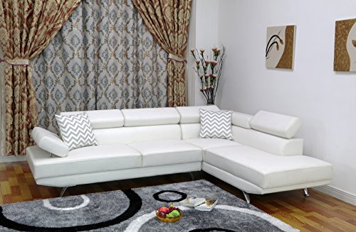 U.S. Livings Liberty Modern Living Room 2-Piece Sectional Sofa (Right, White)