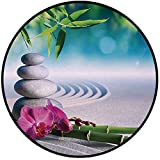 Printing Round Rug,Spa Decor,Sand Orchid and Massage Stones in Zen Garden Sunny Day Meditation Mat Non-Slip Soft Entrance Mat Door Floor Rug Area Rug For Chair Living Room,