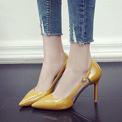 Chaussures 1cm Travail Cuir en 5 Femme Femmes EU Noir UK Nightclub Mode Sexy Hauts 37 Talons Mariage pour 9 Chaussures Verni De Yellow Cour 4 Party Creux 01q1Xw7