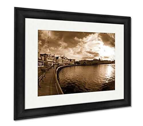 Ashley Framed Prints Boardwalknologo, Wall Art Home Decoration, Sepia, 34x40 (frame size), Black Frame, AG6483310 Museum Black Path Light