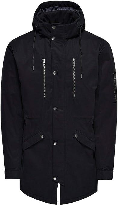 Only & Sons NOS Onsklaus Parka Winter Jacket Noos abrigos hombre, Negro (Black Black), Medium