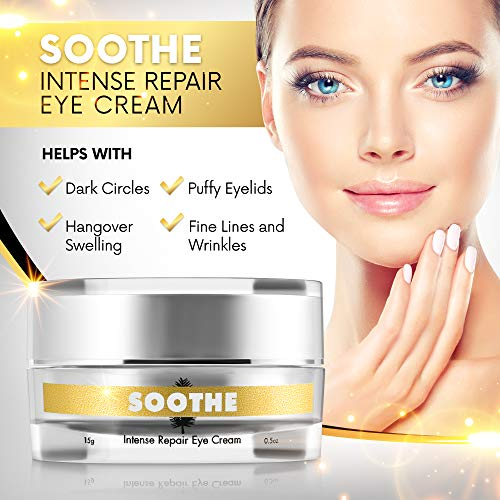 51cL4QQXVQL - Soothe Intense Repair Treatment Eye Cream For Dark Circles and Puffiness, Eye Bags, and Wrinkles With Anti-aging, Firming Hyaluronic Acid, Retinol, Peptides and Caffeine For Ageless Men and Women