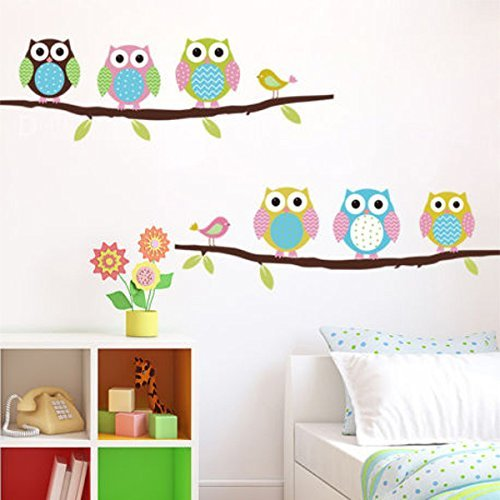Soledi New Cute DIY Removable Colorful Six Owls Bird Branch Vinyl Decal PVC Wall Mural Sticker Poster Home Room Decor