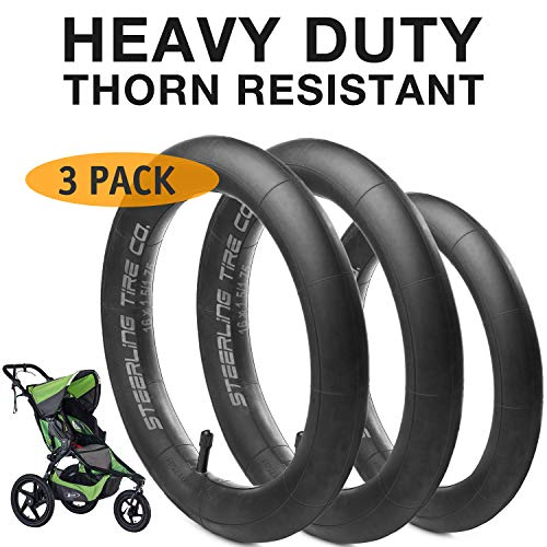 [3-Pack] Two 16'' x 1.5/1.75 Rear AND One 12.5'' x 1.75/2.15 Front Heavy Duty Thorn Resistant Inner Tire Tube For All BOB Revolution Strollers & Stroller Strides - The Smart BOB Stroller Tire Tube Set ()