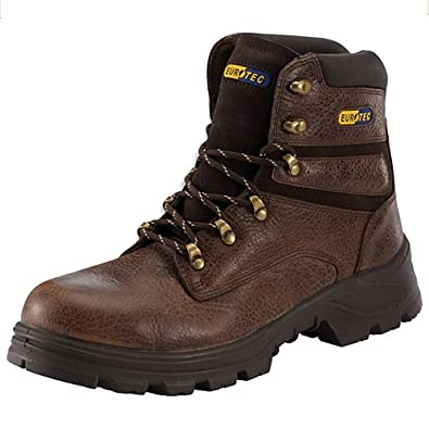 MENS EUROTEC LEATHER S3 SAFETY STEEL TOE CAP BOOTS WORK TRAINERS HIKING SHOES