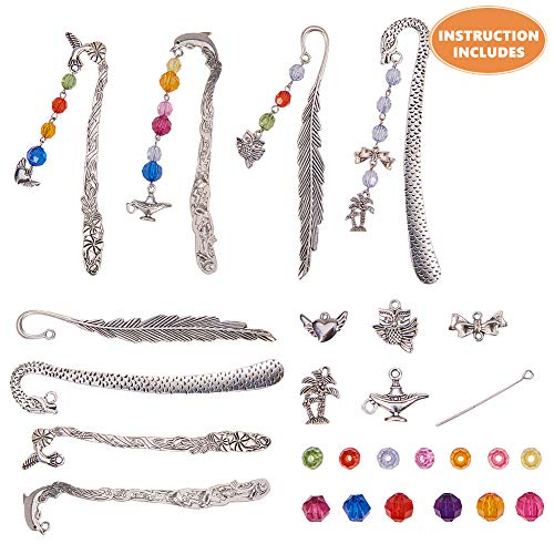 SUNNYCLUE DIY 4 Set Metal Hook Bookmarks Making Kit Include Instruction 4pcs Dolphin Leaf Dragon Bird Bookmark, Assorted Beads, Heart/Tree/Flagon/Owl Charm Pendants & Headpins, Antique Silver