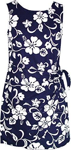 RJC Women's Classic Hibiscus Hawaiian Mock Wrap Sarong Dress Navy Blue Large